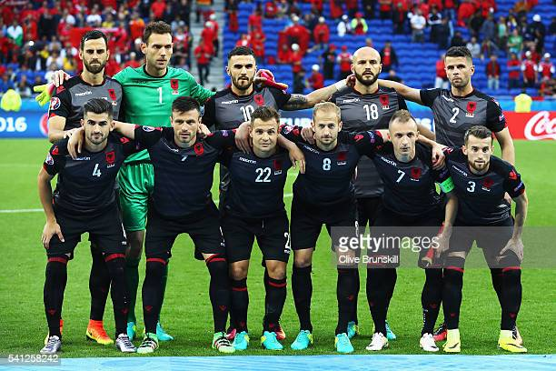 Albania players line up for the team photos prior to the UEFA EURO 2016 Group A match between Romania and Albania at Stade des Lumieres on June 19...