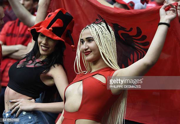 Albania supporters are pictured ahead the Euro 2016 group A football match between Romania and Albania at the Parc Olympique Lyonnais stadium in Lyon...