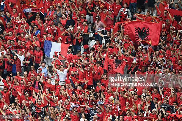 Albania supporters cheer prior to the Euro 2016 group A football match between France and Albania at the Velodrome stadium in Marseille on June 15...