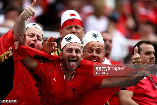 Albania supporters enjoy the atmosphere prior to the UEFA EURO 2016 Group A match between Albania and Switzerland at Stade BollaertDelelis on June 11...