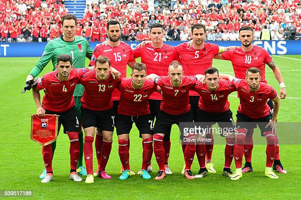Albania team during GroupA preliminary round between Albania and Switzerland at Stade BollaertDelelis on June 11 2016 in Lens France