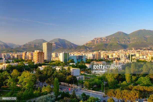 albania, tirana, city center, tid tower and namazgah mosque - tirana stockfoto's en -beelden