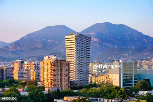 albania, tirana, city center with tid tower - tirana stockfoto's en -beelden