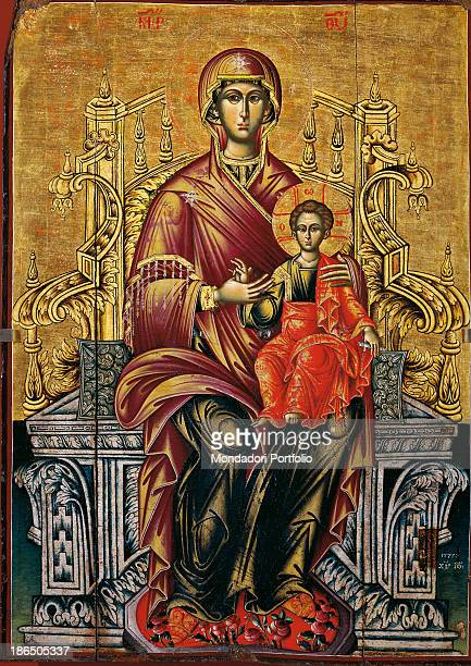 Albania Tirana Institute for Cultural Monuments Whole artwork view Icon on a golden background the Mother of God is holding the Son in her arms...
