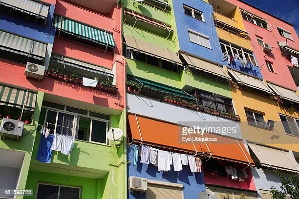 Albania Tirane Tirana Multi colored exterior facade of apartment block