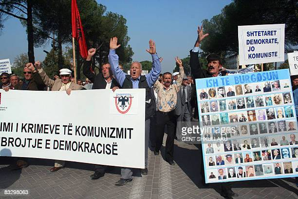 Albaniahistorycommunism Former political prisoners of the communist regime protest against crimes commited under the regime on 100th birth...