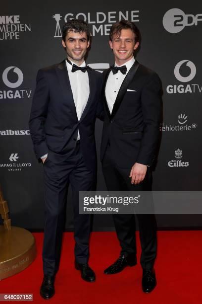 Albanian actor Nik Xhelilaj and german actor Jannis Niewoehner arrive for the Goldene Kamera on March 4 2017 in Hamburg Germany