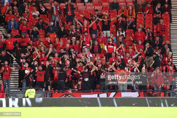 Albanian fans at Hampden Park during the UEFA Nations League C group one match between Scotland and Albania at Hampden Park on September 10 2018 in...