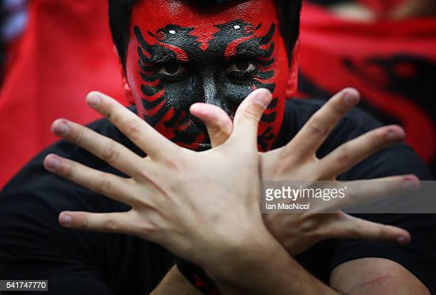 Albanian fans enjoy the atmosphere during the UEFA EURO 2016 Group A match between Romania and Albania at Stade des Lumieres on June 19 2016 in Lyon...