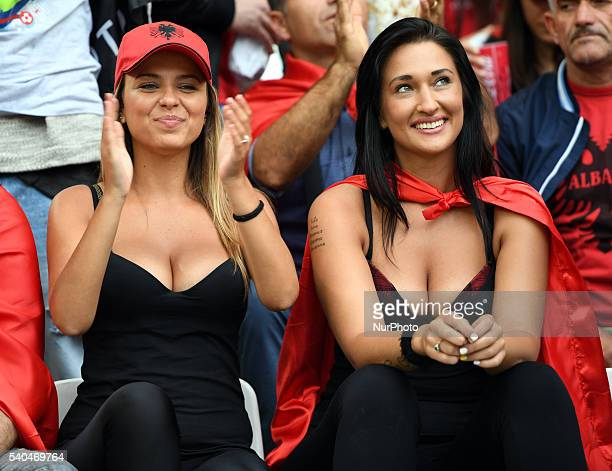 Albanian fans pictured during the UEFA Euro 2016 Group A match between France and Albania at Stade Velodrome in Marseille France on June 16 2016