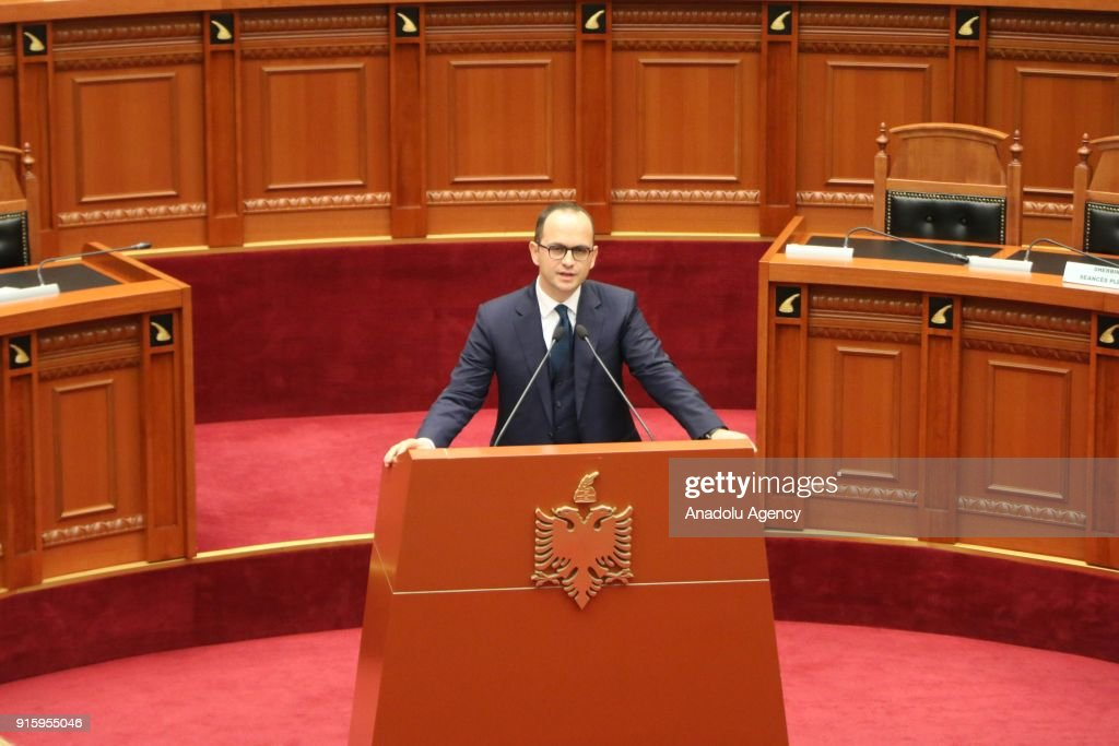 Albanian Foreign Minister Ditmir Bushati addresses the lawmakers during a debate over Albania's UN Jerusalem vote at Albania's parliament in Tiran, Albania on February 8, 2018.
