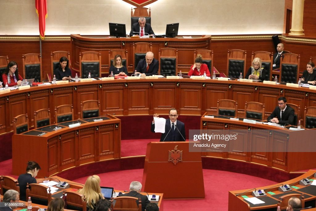 Parliament debate over Albania's UN Jerusalem vote : News Photo
