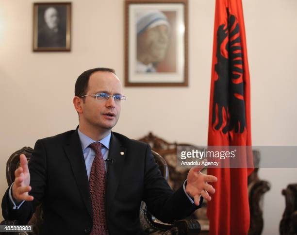 Albanian Foreign Minister Ditmir Bushati speaks to the media at the Albanian Embassy in Ankara Turkey on April 18 2014 Bushati is on an official...