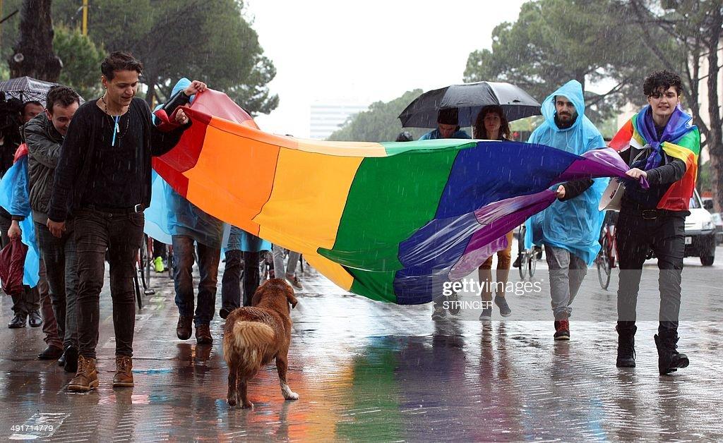ALBANIA-HOMOSEXUALITY-RIGHTS-DEMO : News Photo