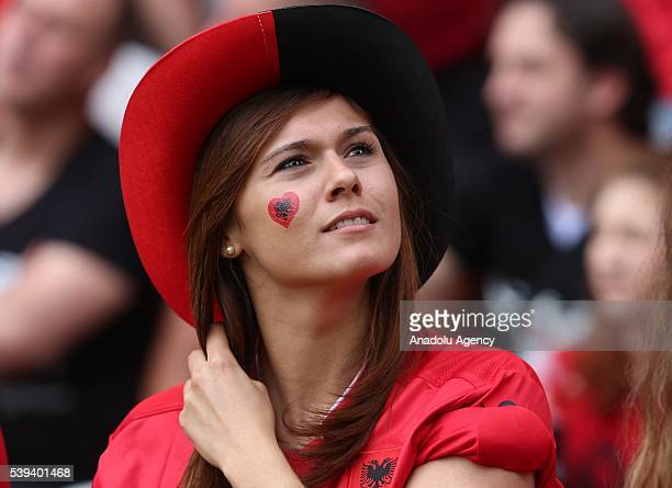 Albanian national football team supporter is seen prior the Euro 2016 group A football match between Albania and Switzerland at the BollaertDelelis...