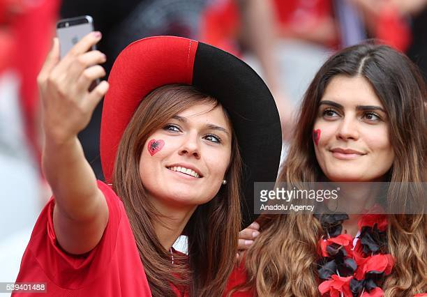Albanian national football team supporters are seen prior the Euro 2016 group A football match between Albania and Switzerland at the BollaertDelelis...