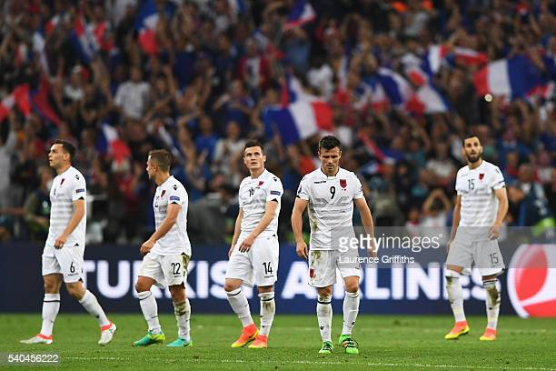 Albanian players look dejected following defeat during the UEFA EURO 2016 Group A match between France and Albania at Stade Velodrome on June 15 2016...