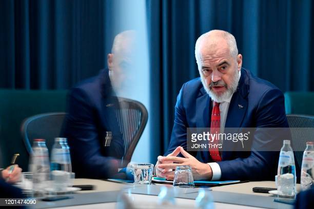 Albanian Prime Minister Edi Rama answers journalists in Brussels on February 17, 2020. - European Council president Charles Michel on Sunday met with...