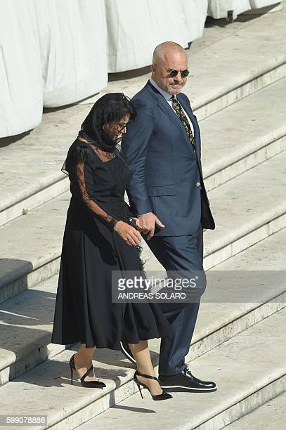 Albanian Prime Minister Edi Rama arrive with his wife to attend the Holy Mass and canonisation of Mother Teresa of Kolkata on Saint Peter square in...