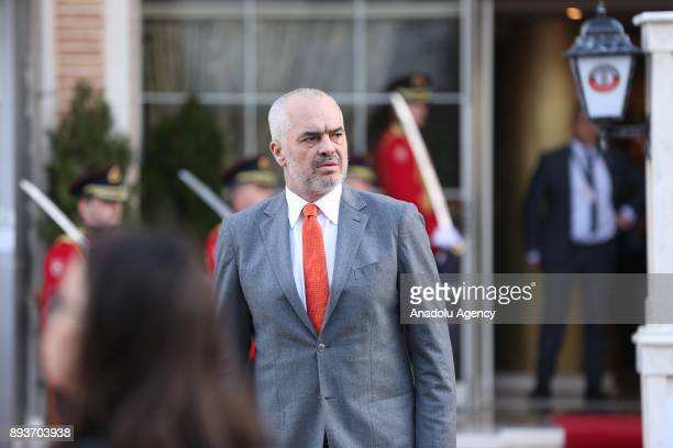 Albanian Prime Minister Edi Rama arrives at to welcome Macedonian Prime Minister Zoran Zaev during a welcoming ceremony ahead of their meeting in...
