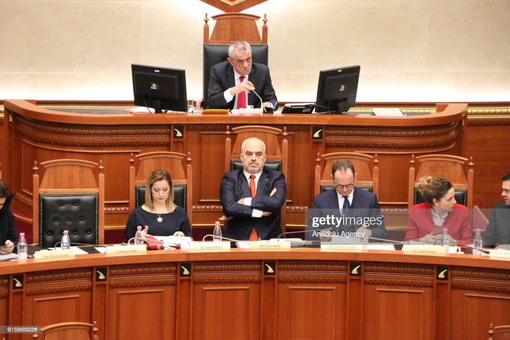 Albanian Prime Minister Edi Rama (C) is seen as the lawmakers debate over Albania's UN Jerusalem vote at Albania's parliament in Tiran, Albania on February 8, 2018.