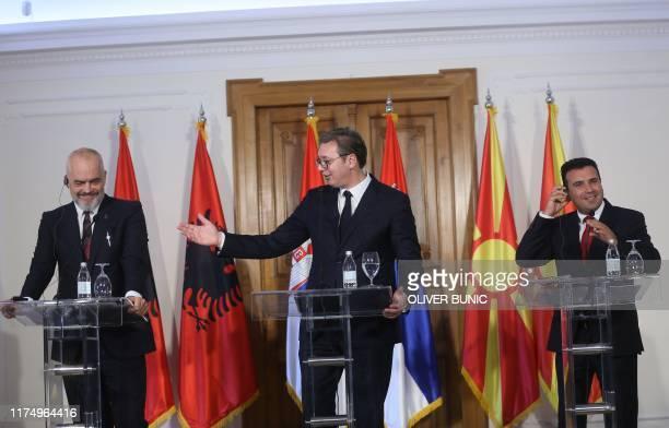 Albanian Prime Minister Edi Rama , Serbian President Aleksandar Vucic and North Macedonian Prime Minister Zoran Zaev give a joint press conference...
