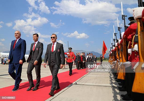 Albanian Prime Minister Edi Rama the captain of Albania's national soccer team Lorik Cana and Albania's national football team head coach Gianni De...