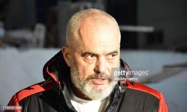 Albanian Prime Minister Edi Rama visits a hotel affected from the earthquake after 63magnitude earthquake hit Albania's Durres city on November 27...