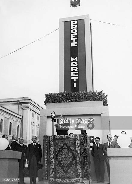 Albanian Prime Minister Kotta During The 10Th Anniversary Celebration Of The Albanian Monarchy In 1938