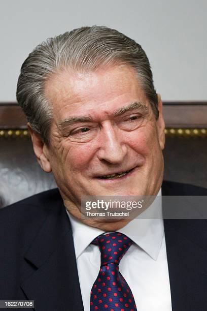 Albanian Prime Minister Sali Berisha is pictured during a meeting with German Foreign Minister Guido Westerwelle at the guesthouse of the Albanian...