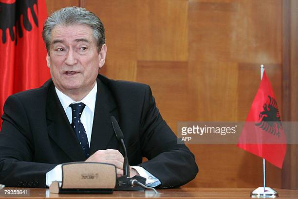 Albanian Prime Minister Sali Berisha speaks 29 January 2008 in Tirana during an interview with AFP Berisha categorically rejected the idea that the...