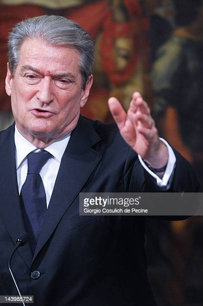 Albanian Prime Minister Sali Berisha speaks during a press conference with Italian Prime Minister Mario Monti at Palazzo Chigi on May 7 2012 in Rome...