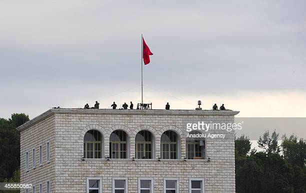 Albanian security forces are seen on the rooftop increasing security measures before Pope Francis offers the Holy Sacrifice of the Mass in Mother...