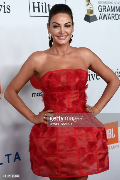 Albanian singer and actress Bleona arrives for the traditionnal Clive Davis party on the eve of the 60th Annual Grammy Awards on January 28 in New...