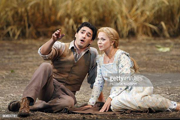 Albanian singer Inva Mula as Mireille and US Charles Castronovo as Vincent perform on stage during a rehearsal of Mireille an opera ballet by Gounod...