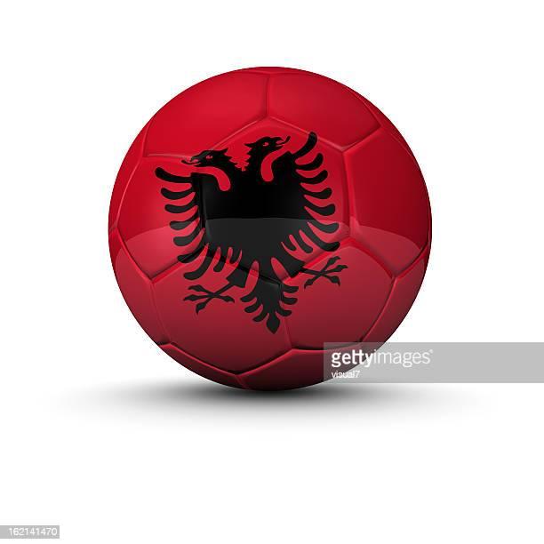 albanesi del pallone da calcio - bandiera albanese foto e immagini stock