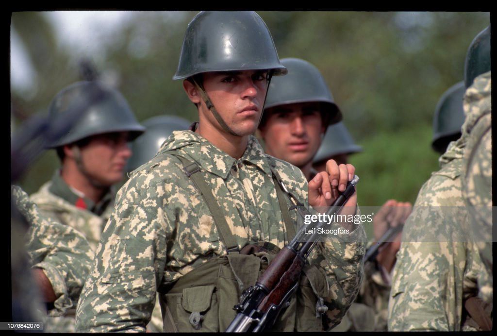 Albanian Soldiers in Formation : News Photo