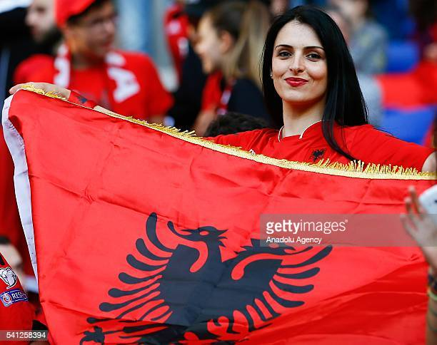 Albanian supporters enjoy the atmosphere prior to the UEFA EURO 2016 Group A match between Romania and Albania at Stade de Lyon on June 19 2016 in...