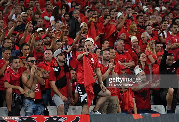Albanian supporters in good spirits during the UEFA EURO 2016 Group A match between France and Albania at Stade Velodrome on June 15 2016 in...