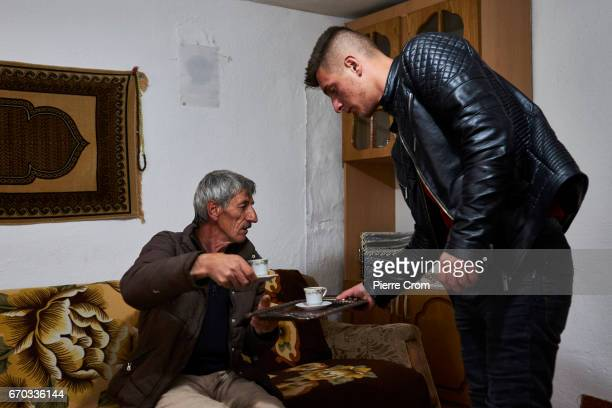 Albanians from Macedonia drink coffee in their farm located in the mountains on the outskirts of Skopje on April 19, 2017 in Skopje, Macedonia....