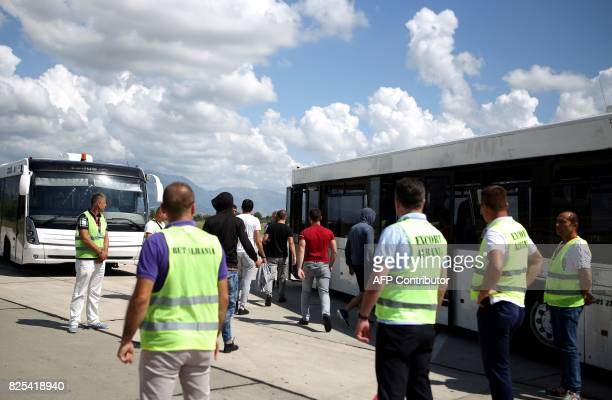 Albanians who have been denied asylum arrive from France and Belgium at Tirana's airport on July 26 2017 Albania is a democracy but nevertheless...