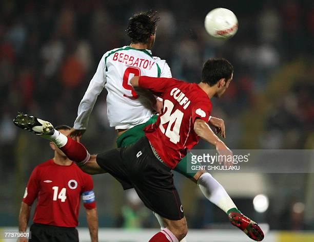 Albania's Debatik Curri vies for the ball with Bulgaria's Dimitar Berbatov during their Euro 2008 championship Group G qualifying football match in...