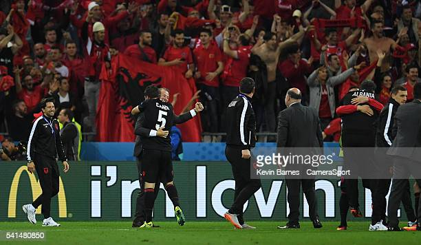 Albania's Manager Gianni De Biasi celebrates his sides win with Lorik Cana after the UEFA Euro 2016 Group A match between Romania and Albania at...