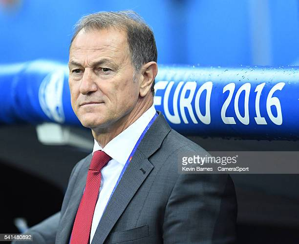 Albania's Manager Gianni De Biasi during the UEFA Euro 2016 Group A match between Romania and Albania at Stade de Lyon on June 19 in Lyon France