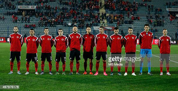 Albania's National soccer team players line up prior to the International friendly soccer match Albania vs Georgia held in Tirana Albania on 16...