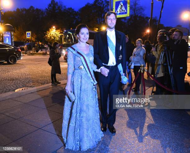 Albania's pretender to the throne, Crown Prince Leka Zogu II, the grandson of self-proclaimed King Zog and his wife Elia Zaharia arrive to attend a...