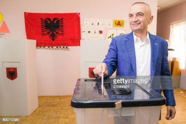 Albania's Socialist Movement for Integration party's founder and newly elected President Ilir Meta casts his ballot at a polling station in Tirana...