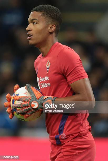 AlbanMarc Lafont goalkeeper of ACF Fiorentina looks on during the Serie A match between FC Internazionale and ACF Fiorentina at Stadio Giuseppe...