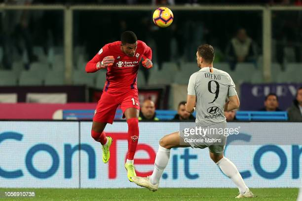 AlbanMarc Lafont of ACF Fiorentina battles for the ball with Edin Dzeko of AS Roma during the Serie A match between ACF Fiorentina and AS Roma at...