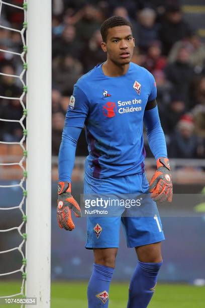 AlbanMarc Lafont of ACF Fiorentina during the serie A match between AC Milan and ACF Fiorentina at Stadio Giuseppe Meazza on December 22 2018 in...